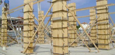 Getto dei pilastri in cemento armato